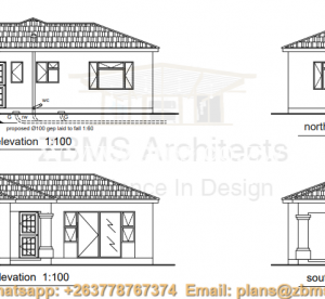 2 bedroomed cottage house plan, with bath and toilet combined, kitchen, entry hall, lounge, entrance porch, grano, passage and biuld in cupboards for the two bedrooms elevations