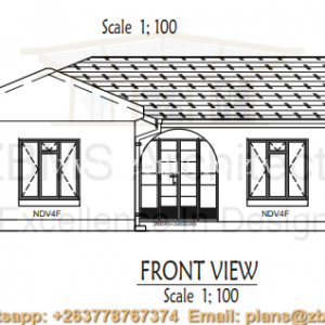 3 bedroomed cottage house plan with kitchen, lounge, sitting room, verandah, passage, inside bathroom and toilet, fittings, built in cupboards elevation plans