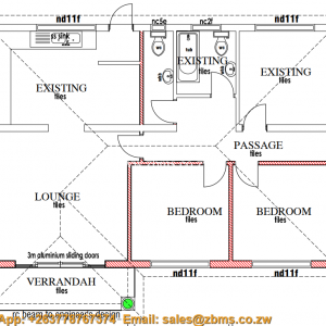 3 bedroomed cottage open house plan with kitchen bath room and 2 toilets plus passage and lounge (1)