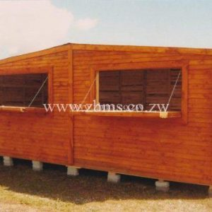 3m by 6m wooden-wendy tuck shop kiosk with two serving hatches for sale in harare zimbabwe
