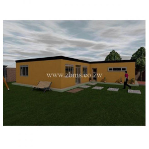 rural flat roof cottage house plan with garage for sale zbms Zimbabwe